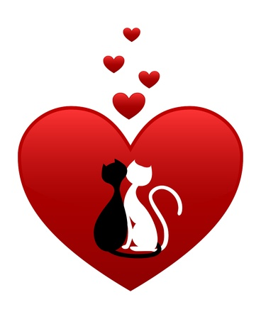 Black cat and white cat, side by side in red heart Vector