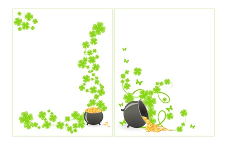 St. Patrick's pattern corner with green shamrock vignette and pot of gold. Stock Vector - 8592714
