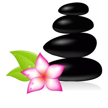 massage stones: Spa stone and pink beautiful flower. Vector illustration.