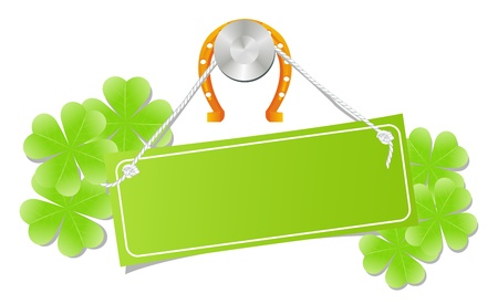golden horseshoe: Green label on a nail with golden horseshoe and shamrock leafs. Send of luck, good desire. Isolated on a white. Vector illustration