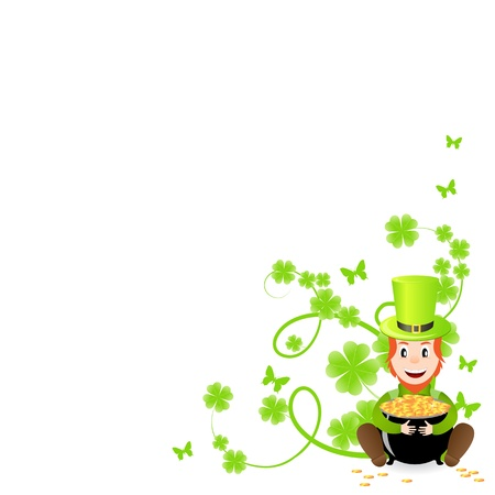 leprechaun background: St. Patricks pattern corner with green shamrock vignette and pot of gold.