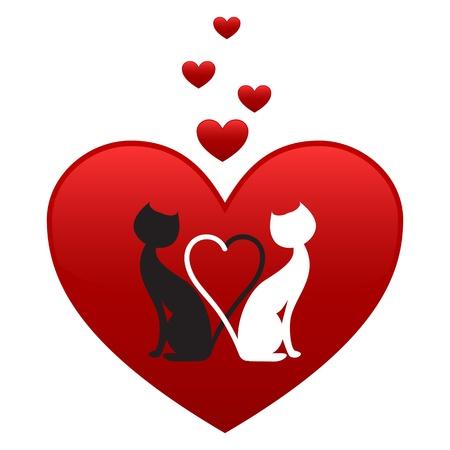 silueta de gato negro: Gato negro y gato blanco, lado a lado en el corazón rojo