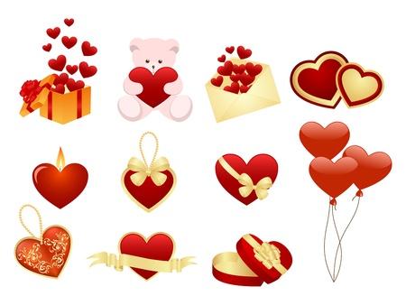 fire heart: Set of romance icons