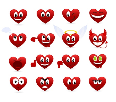 Set of smilies of heart shape with many emotions