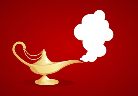 Gold magic lamp on red background. Vector illustration. Vector