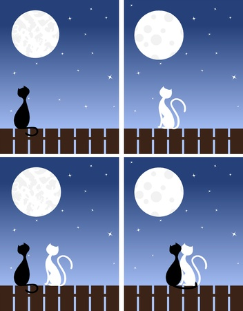 two girls: Two enamoured cats sit on a fence. Vector illustration. Illustration