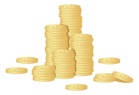 Stacks gold coins isolated on a white. Vector illustration.