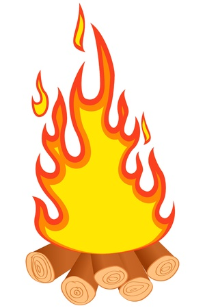 bonfire: Logs burning. Bonfire on white background. Vector illustration.