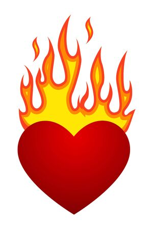 Vector illustration with flaming heart at fire Illustration