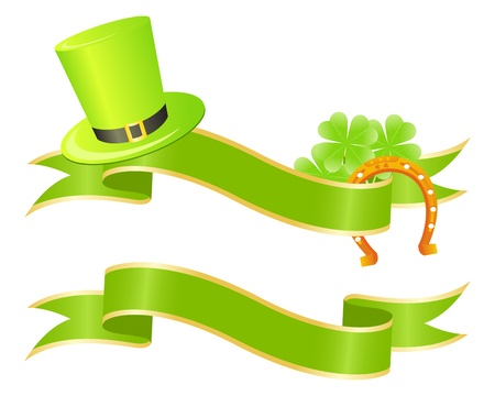 Two green placards with clovers and golden lucky horseshoe Vector