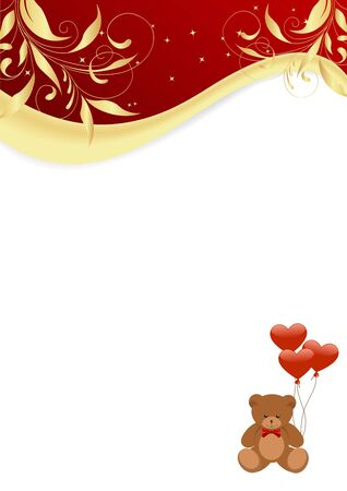 Letter with teddy bear, balls and golden floral patterrn. Vector illustration. Vector