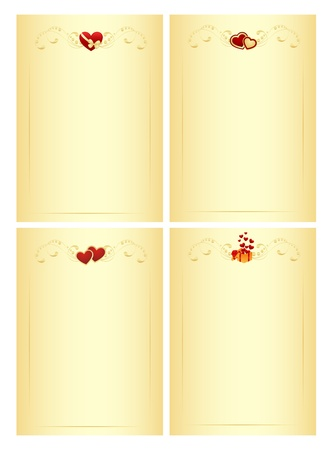 blanks: Letter blanks with hearts. Isolated on a white. Vector illustration