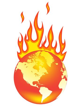 Earth On Fire. Isolated on a white background. Vector