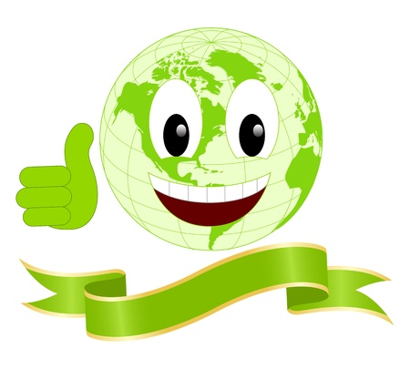 Smiling earth isolated on a white background. Vector illustration. Vector