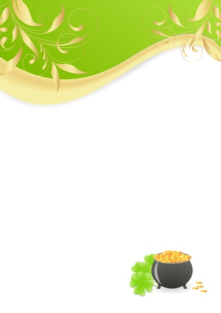St. Patricks background corner with pot of gold Vector