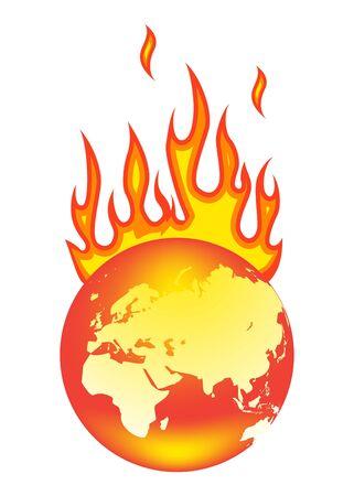 Erde in Brand. Auf weißem hintergrund isoliert.