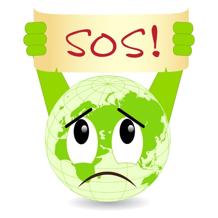 sos: Ecology concept. Vector illustration, isolated on a white.