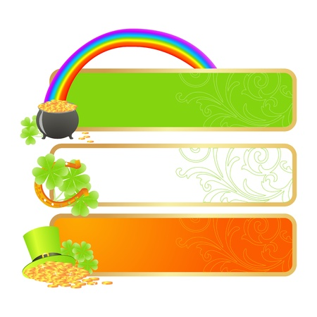 clover banners: Banners for St. Patricks day in Irish flag colors and holiday symbols - Leprechaun hat, pot of gold and horseshoe