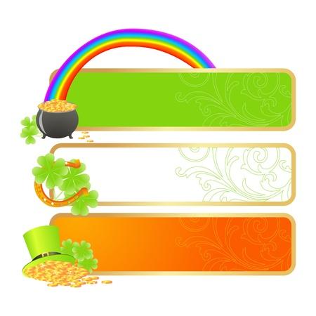 Pancartas para el día de San Patricio en colores de la bandera irlandesa y símbolos de vacaciones - Leprechaun hat, bote de oro y herradura