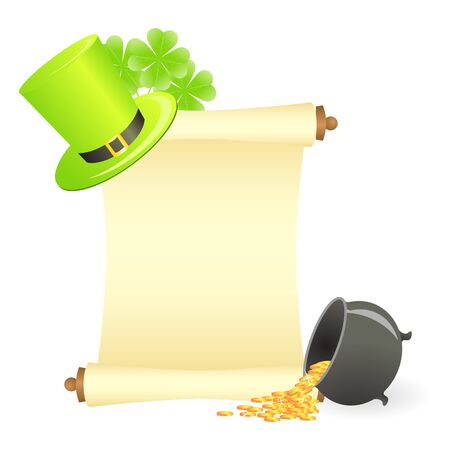 Message scroll with copyspace, tree-leaf clovers, green hat and treasure pot Illustration