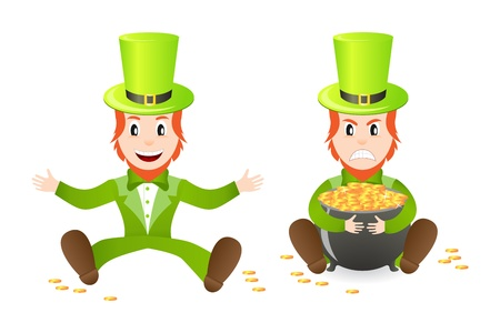 Cheerful and angry leprechauns with treasure isolated on white background Stock Vector - 8911920