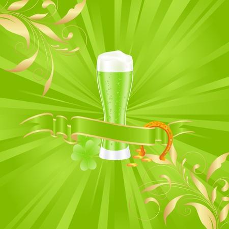 erin: Green beer with shamrock for st. patricks day. Vector illustration.