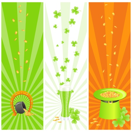leprechauns hat: Ireland national colored banners with luck horseshoe, treasure pot, golden coins, green leprechauns hat and three-leaf clover or shamrock Illustration