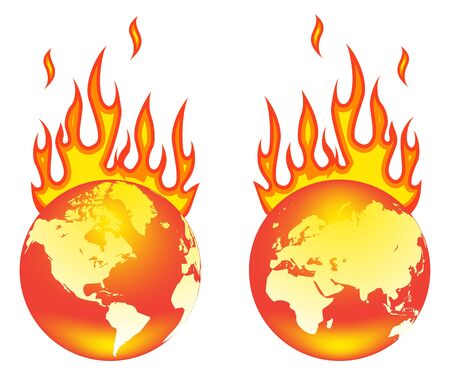Earth On Fire. Isolated on a white background. Stock Vector - 8976460