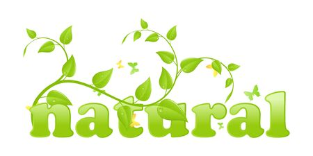 figurative: Figurative eco concept, simple word with floral ornament. Vector illustration, isolated on a white.