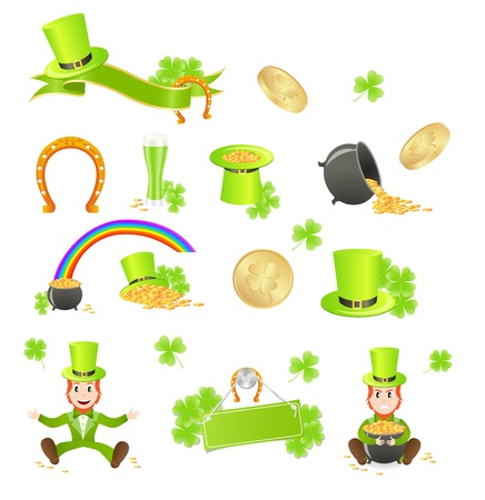 pot of gold: St. Patricks Day symbols. Vector illustration, isolated on white