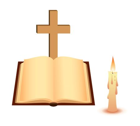 Open book, cross and candle. illustration. Vector