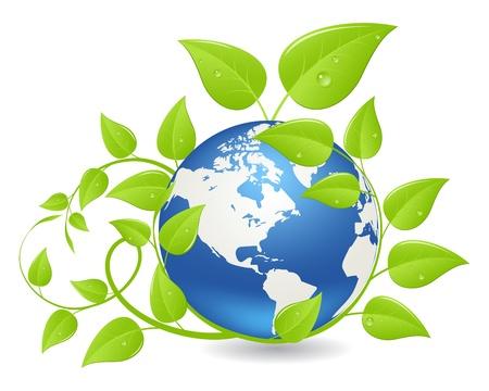 Hemisferio de tierra cubierto por las plantas verdes. Concepto de ecología. Ilustración, aislado en un blanco. Vectores