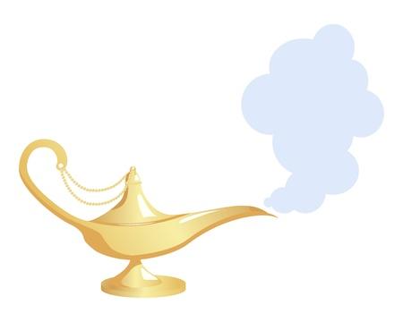 Lámpara mágica de oro sobre fondo blanco. ilustración. Ilustración de vector