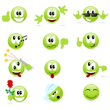 weariness: Set of cool smilies. illustration, isolated on a white.  Illustration
