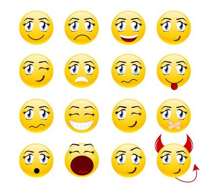 Set di sorrisi cool. illustrazione, isolato su un bianco.