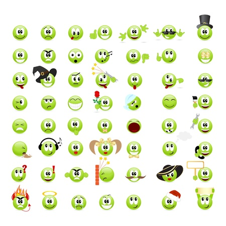 happy emoticon: Large set of cool smileys. Vector illustration, isolated on a white. Illustration
