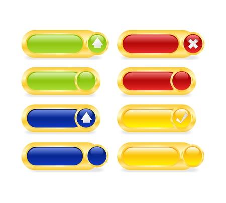 exclude: Set buttons: upload, download, eccept, arrows. Illustration