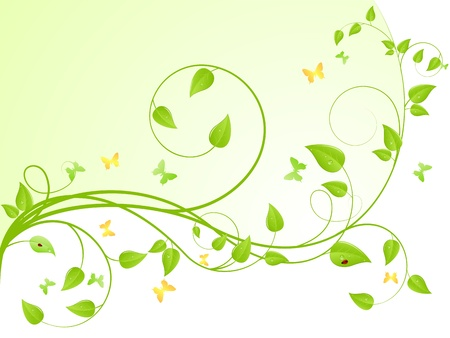 vine: Young sapling with butterflies and ladybird. Vector background, isolated on a white. Иллюстрация