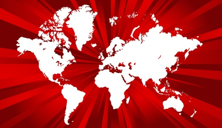 Red world map background. Vector illustration, isolated on a white. Stock Vector - 9189546