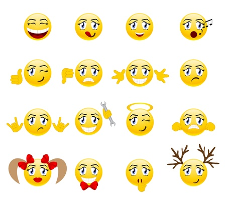 smileys: Set of cool smileys. Vector illustration, isolated on a white.
