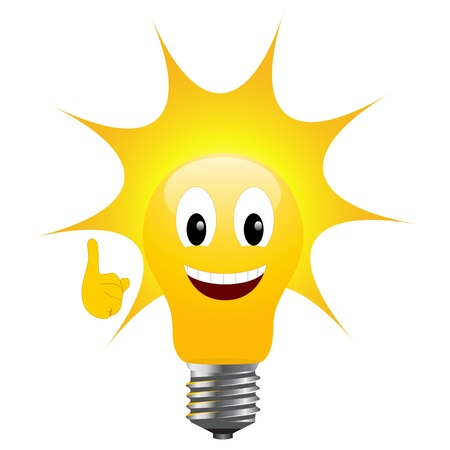 bulb idea: Light bulb with sun signifying solar energy Illustration