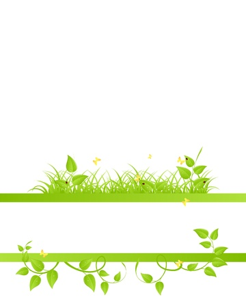 green flower: Floral background with ladybirds and butterflies Illustration