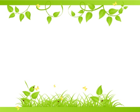 green leaves border: Floral background with ladybirds and butterflies. Vector illustration.