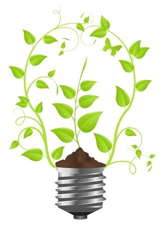eficiencia energetica: Bombilla de plantas verdes. Aislados sobre fondo blanco. Ilustraci�n vectorial.