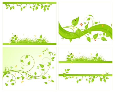 insect on leaf: Four green backgrounds. Vector illustration.