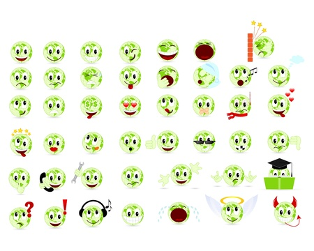 yawn: Set of cool smiles. Vector illustration, isolated on a white.