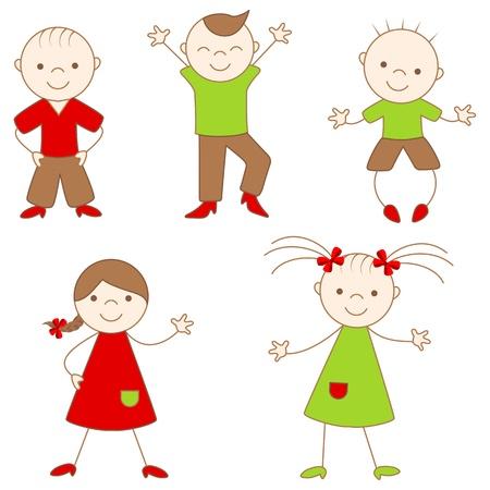 Hübsch Kinder. Vektor-Illustration, isolated on a White.