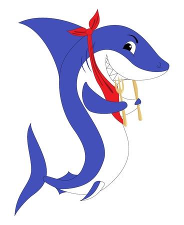 Un requin avec la fourche et le couteau, isolé sur un fond blanc.