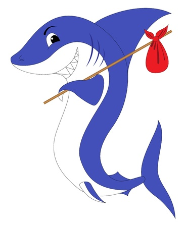 A shark with a red swag, isolated on a white Vector