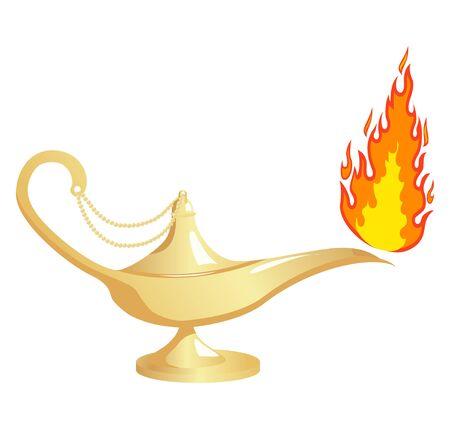 Lámpara de Aladino con fuego. Ilustración vectorial, aislado en un blanco.